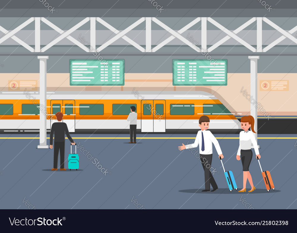 Business people in modern train station platform