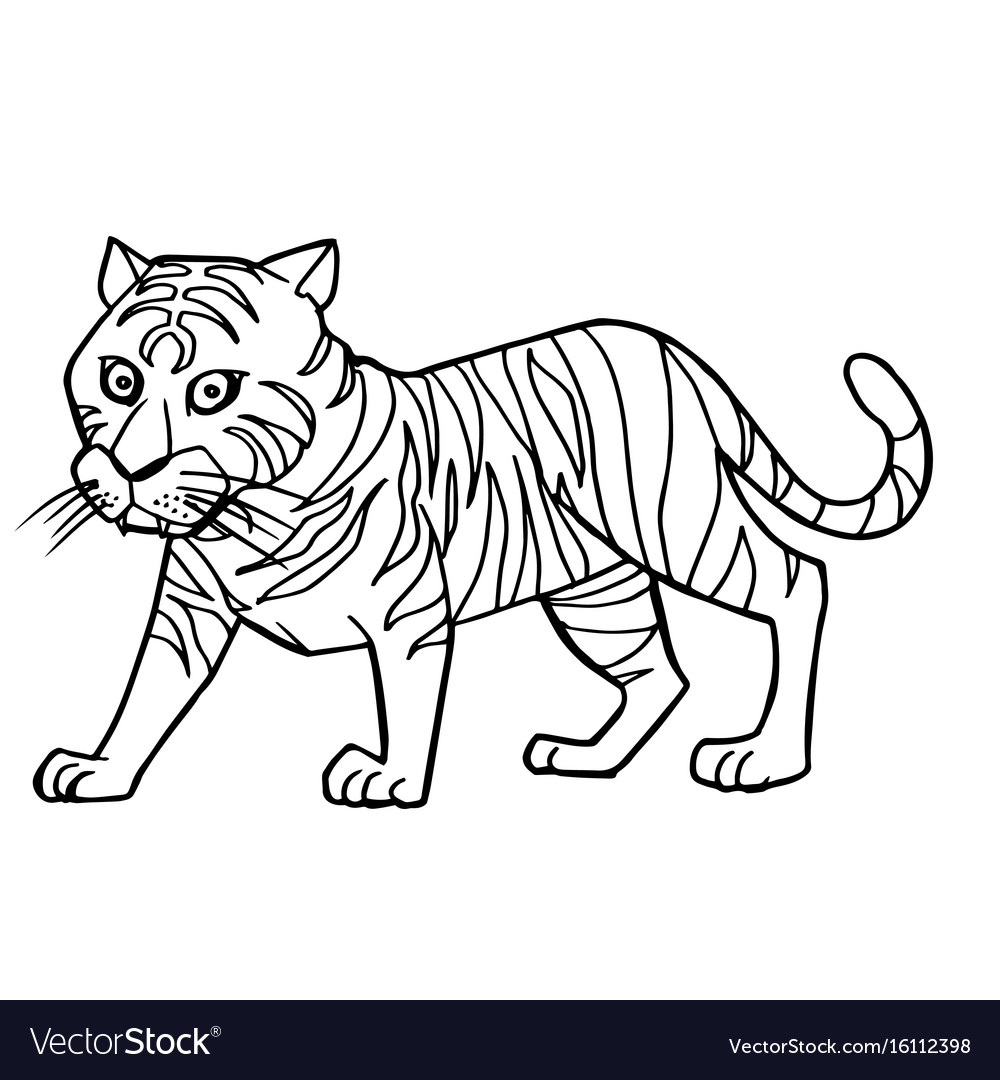 Cartoon cute tiger coloring page