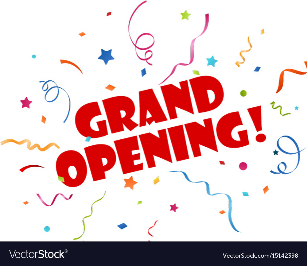 grand opening banner with confetti royalty free vector image