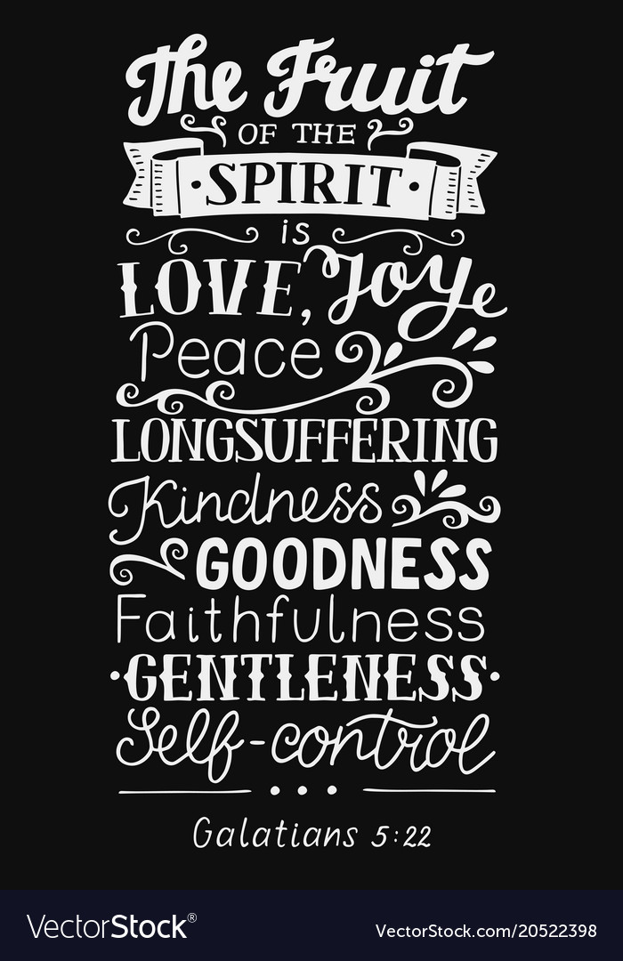 Hand lettering with bible verse the fruit of the vector image on VectorStock