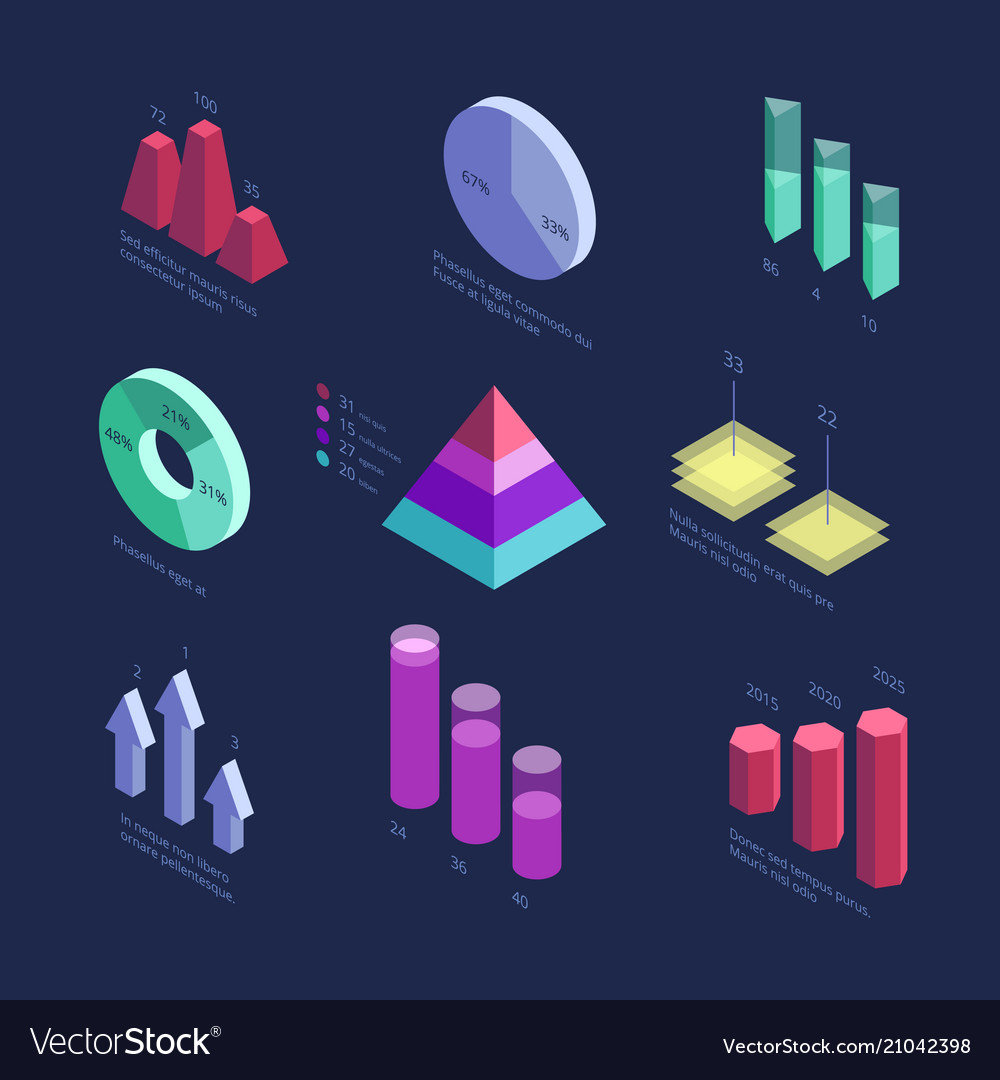 Isometric 3d business statistics data charts vector