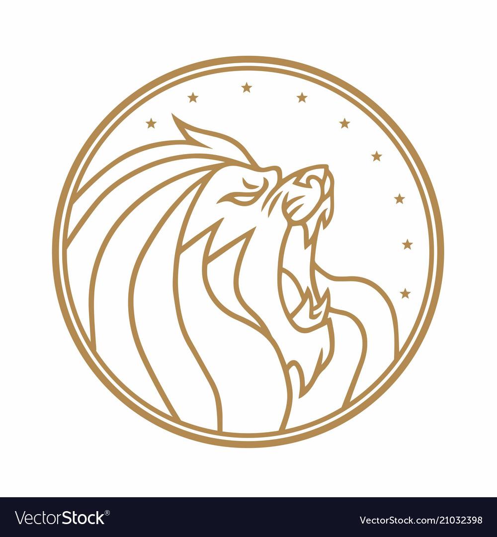 Lion roaring circle gold logo white