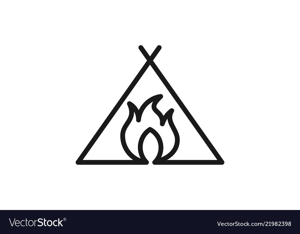 Mono line fire for adventure logo design