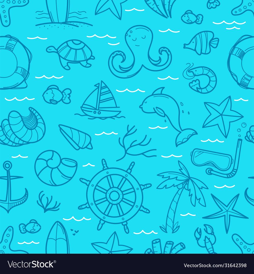 Ocean blue seamless background doodle elements