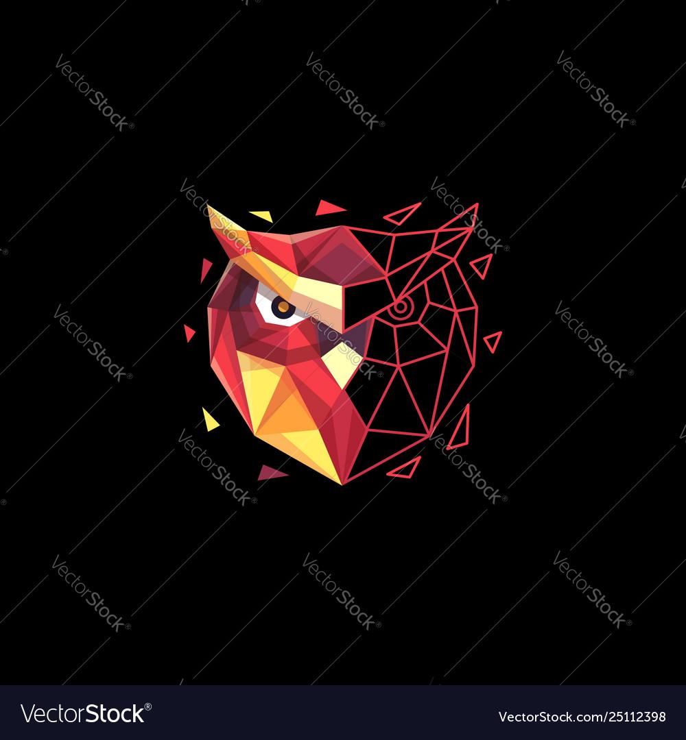 Owl polygon colorful concept design