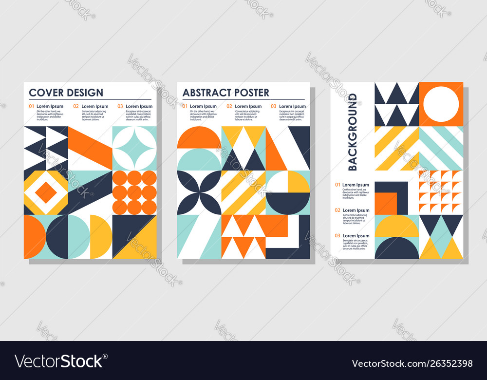 Set abstract creative backgrounds in bauhaus