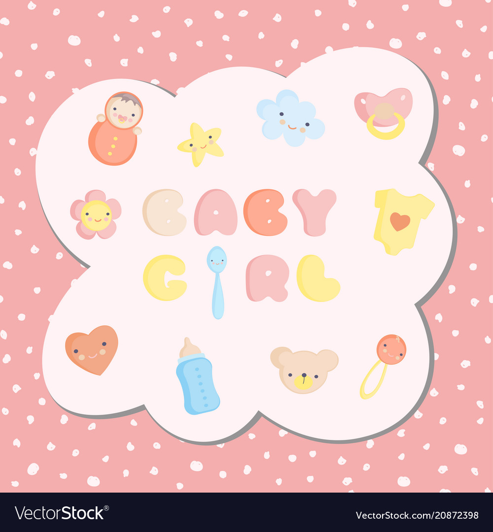 Set of colorful baby girl toys with seamless vector image