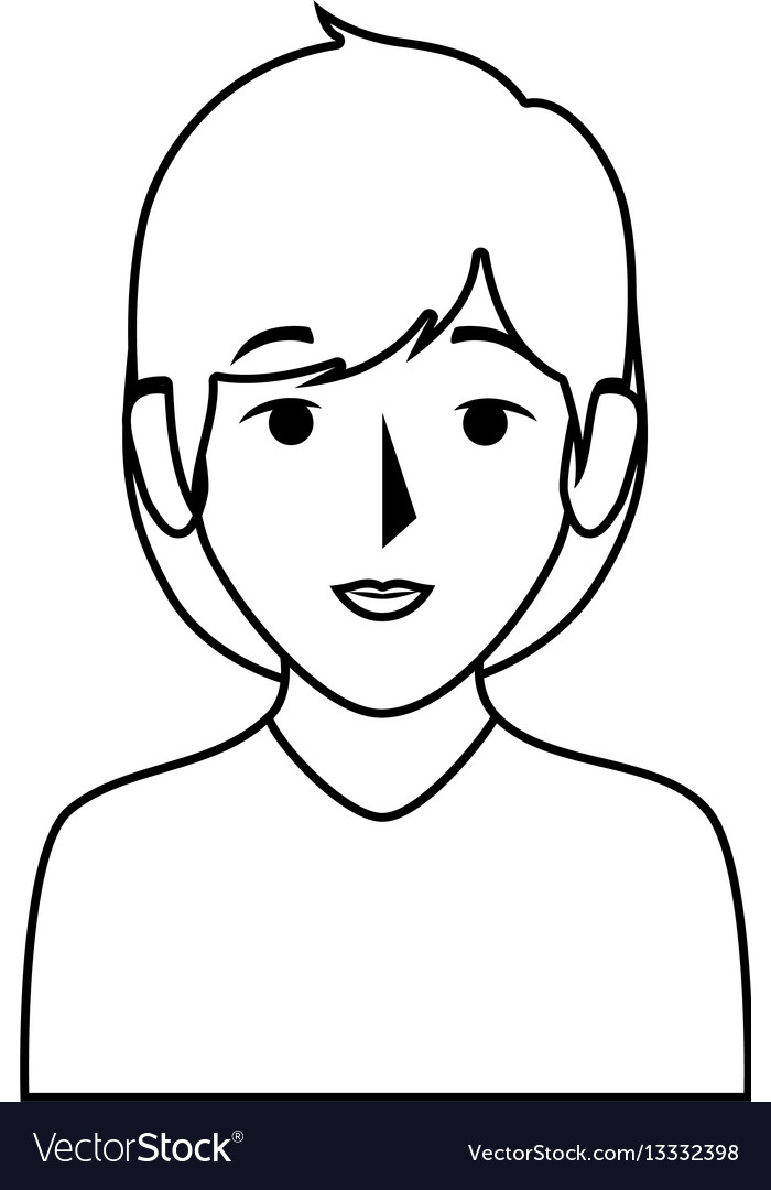 Silhouette half body woman with short hair vector image