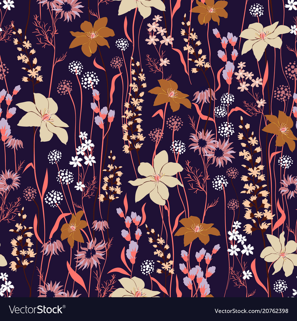 Trendy floral pattern in the many kind of flowers