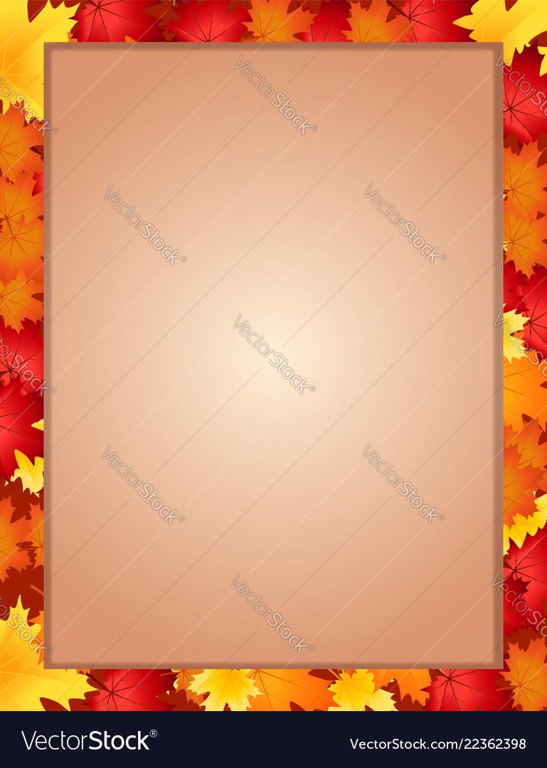 Vertical border frame with fallen autumn maple