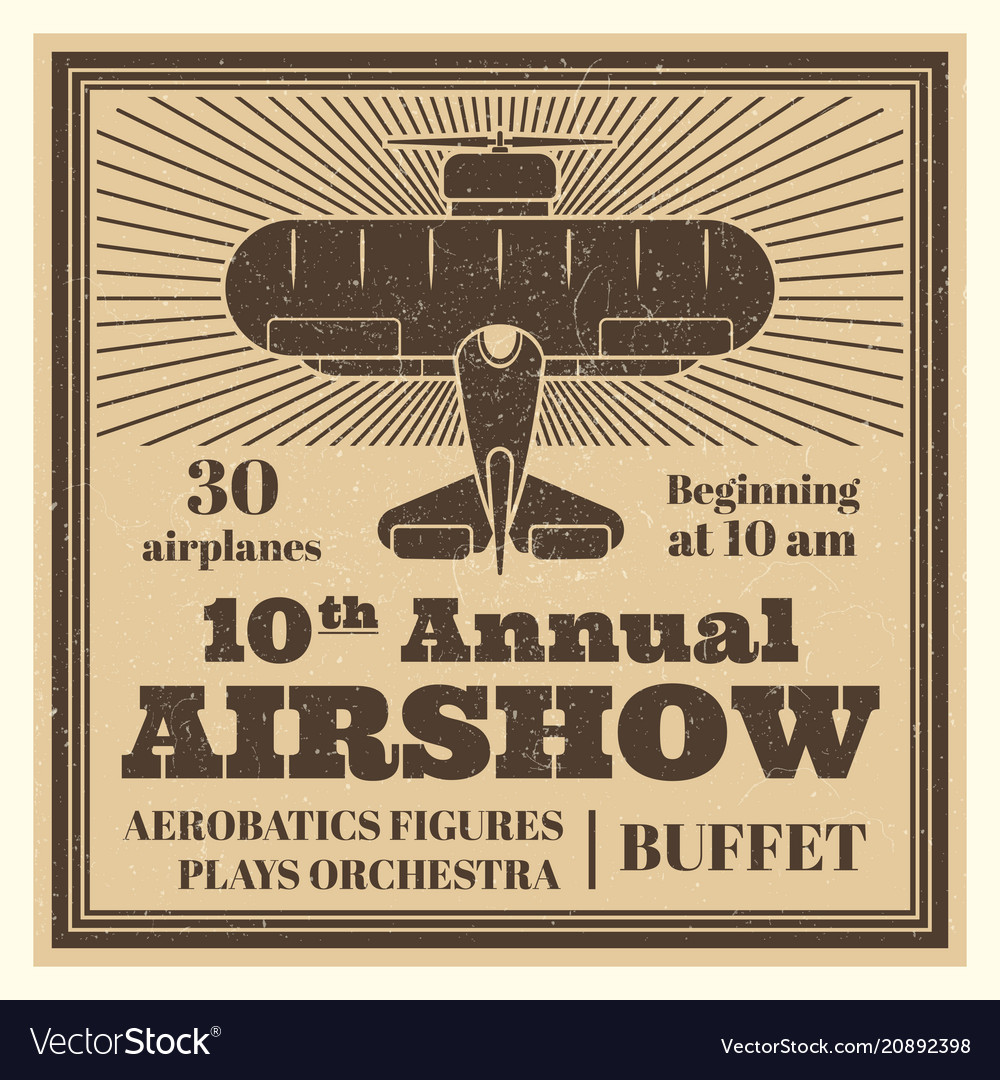 Vintage airshow poster label with airplane
