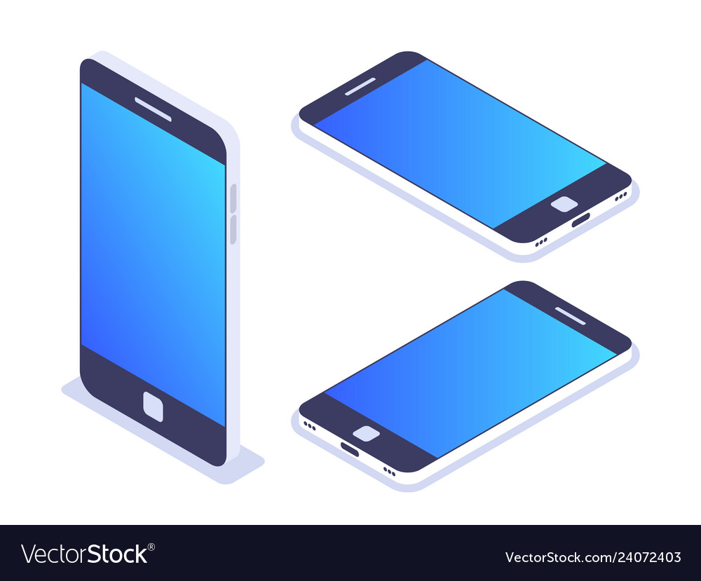 3d isometric mobile phone left top view