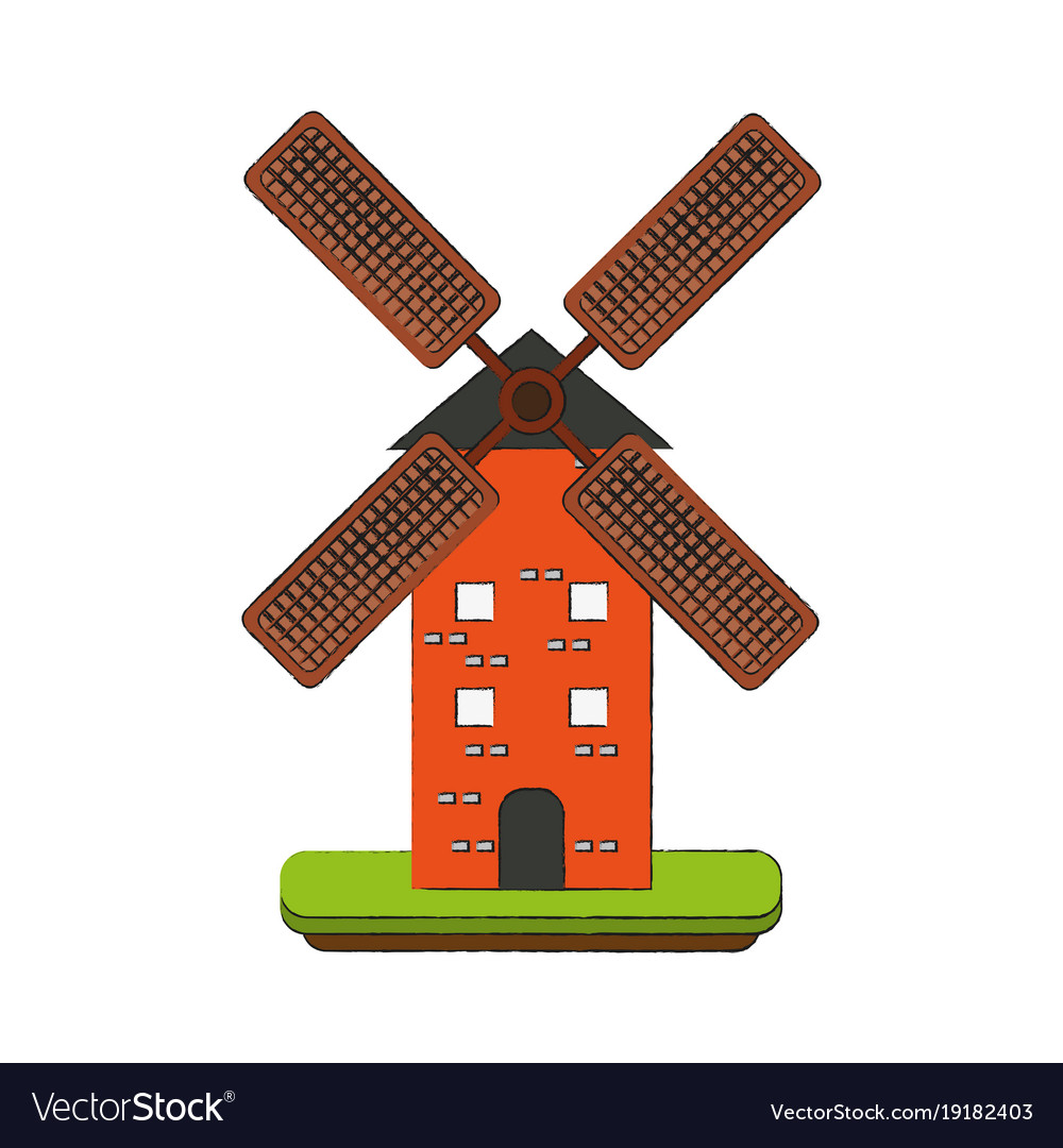 Antique windmill building