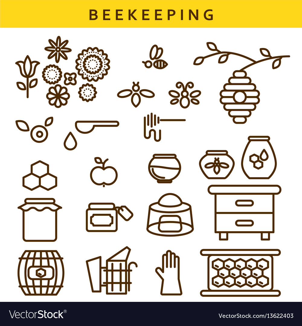 Beekeeping line icon set vector image
