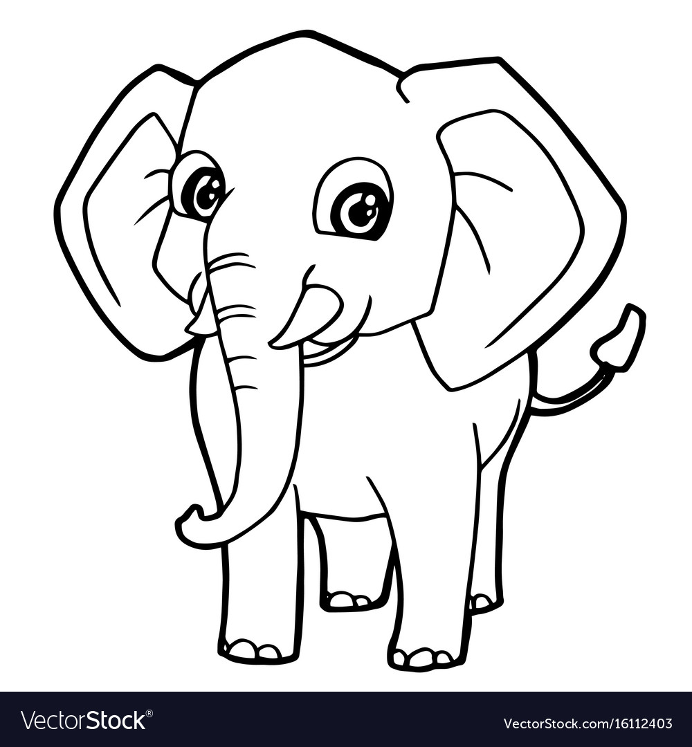 Cartoon Cute Elephant Coloring Page Vector Image