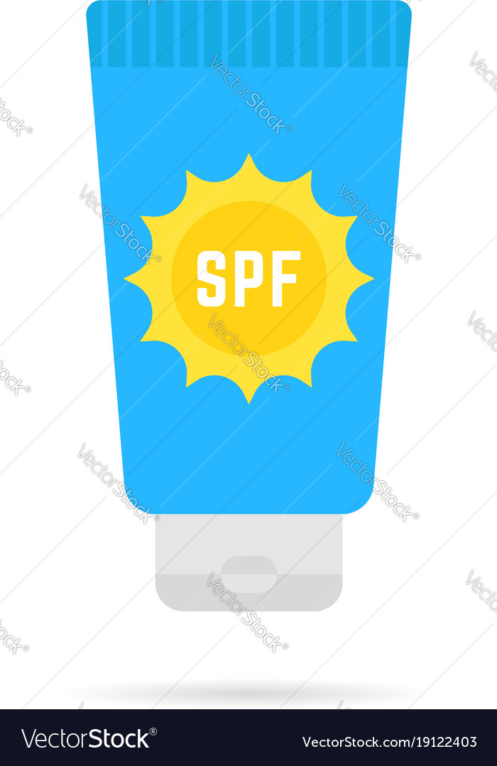 Cosmetic tube of sunscreen with sun protection