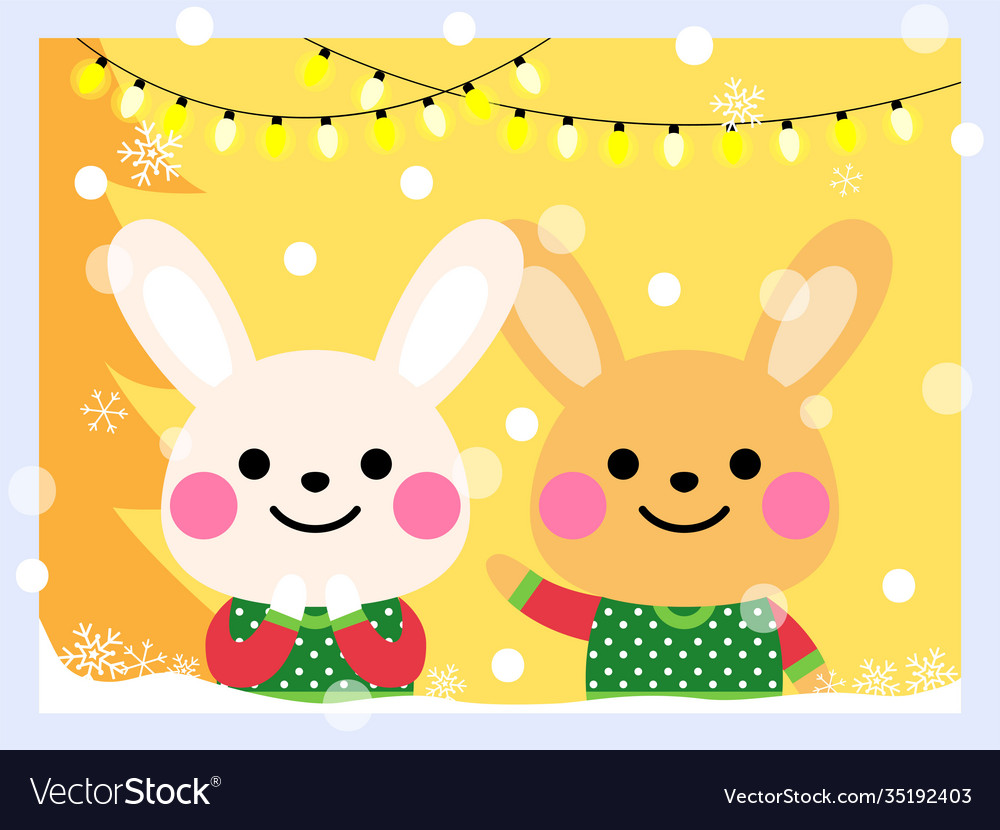 Cute rabbits wear an ugly sweater
