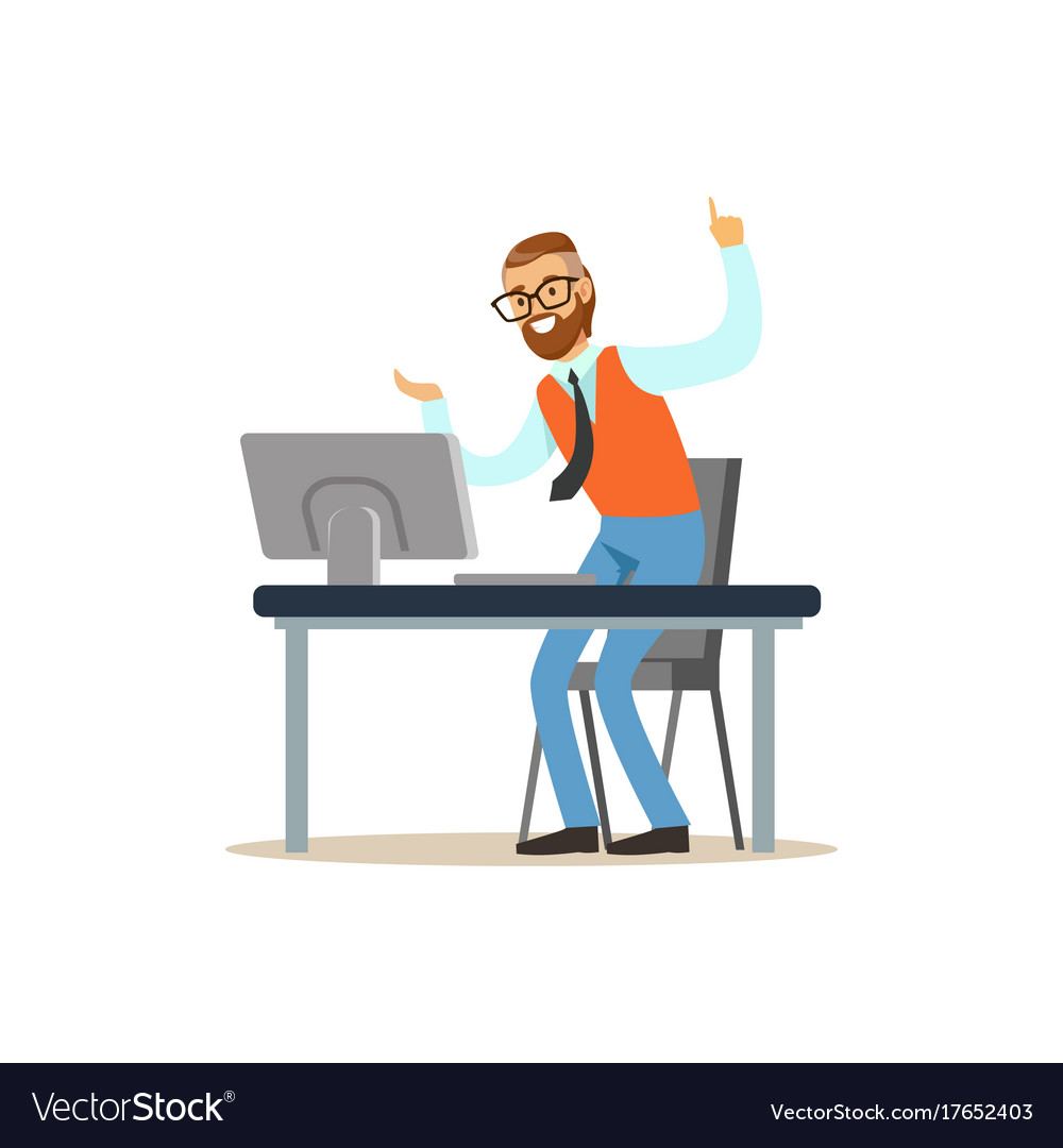 Happy Man Working On The Computer In The Office Vector Image