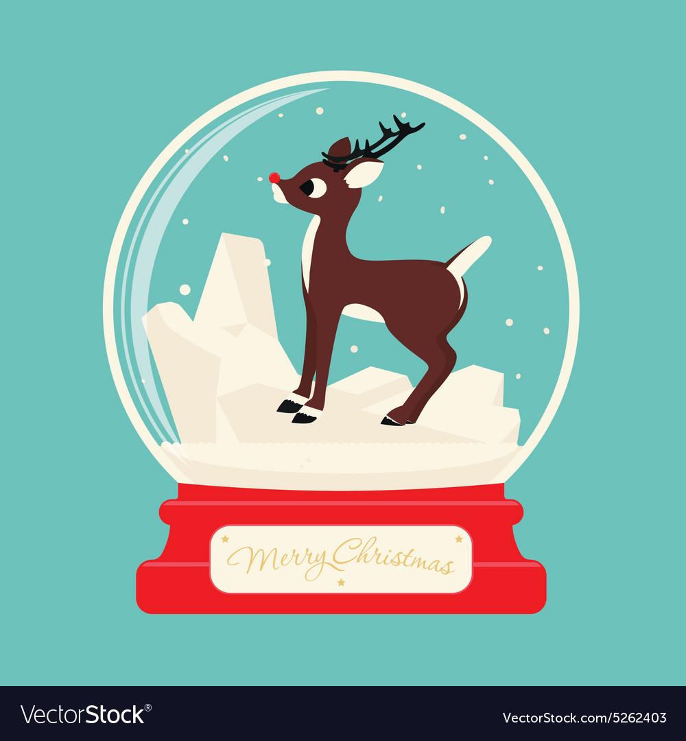 Merry christmas glass ball with Reindeer Rudolf