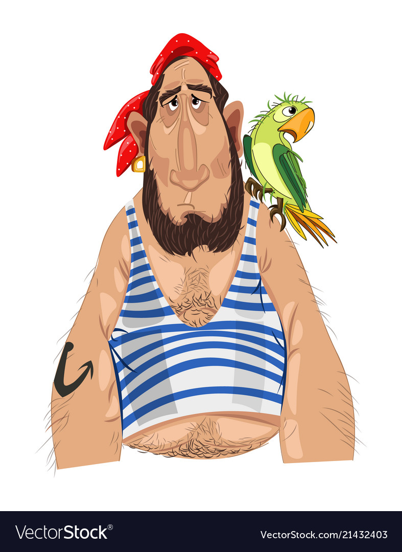 Pirate and his parrot cartoon character