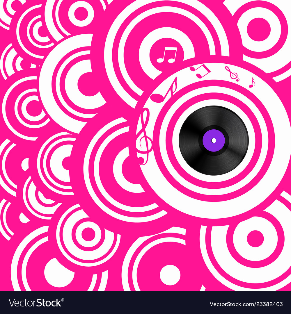 Psychedelic pink retro music background with