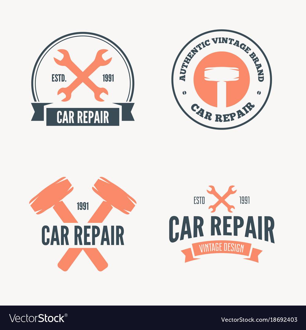 Set of vintage mechanic labels emblems and logo