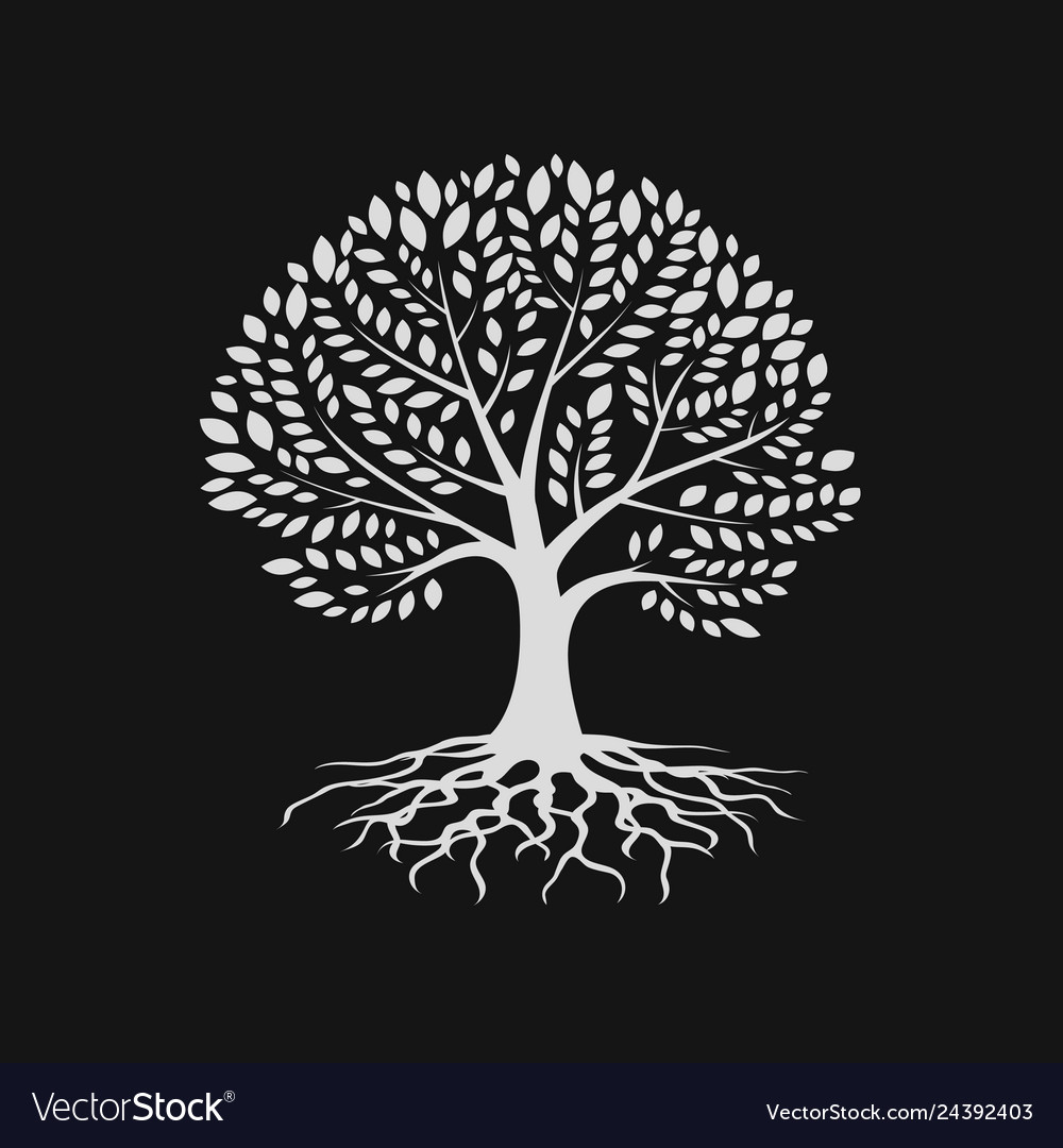 Tree silhouette with root logo design template