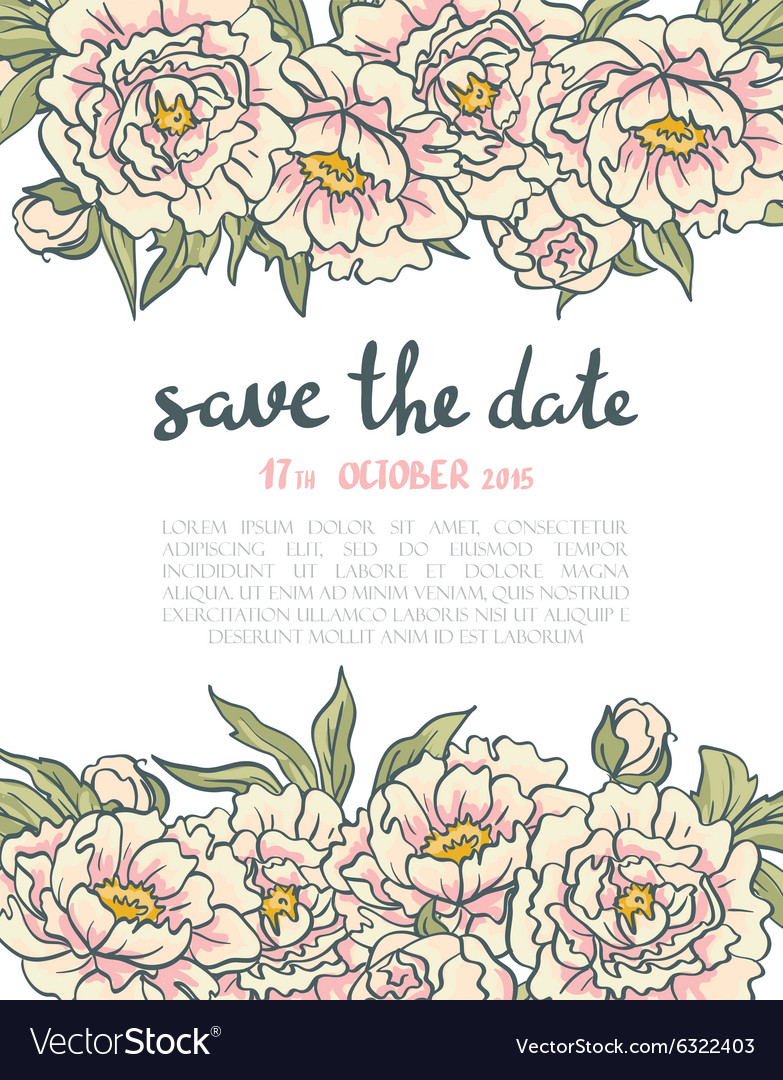 Vintage floral wedding invitation Pink roses and