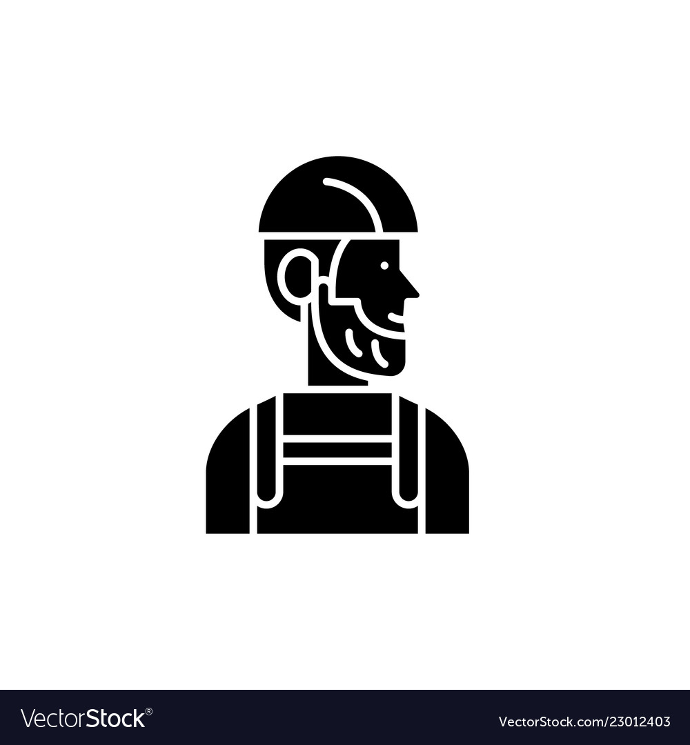 Worker black icon sign on isolated