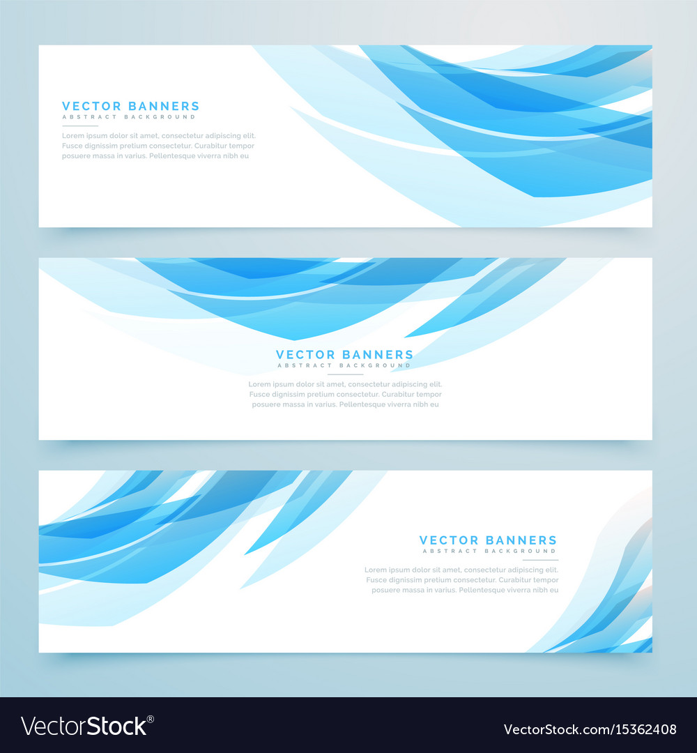 Abstract Light Blue Banners Set Design
