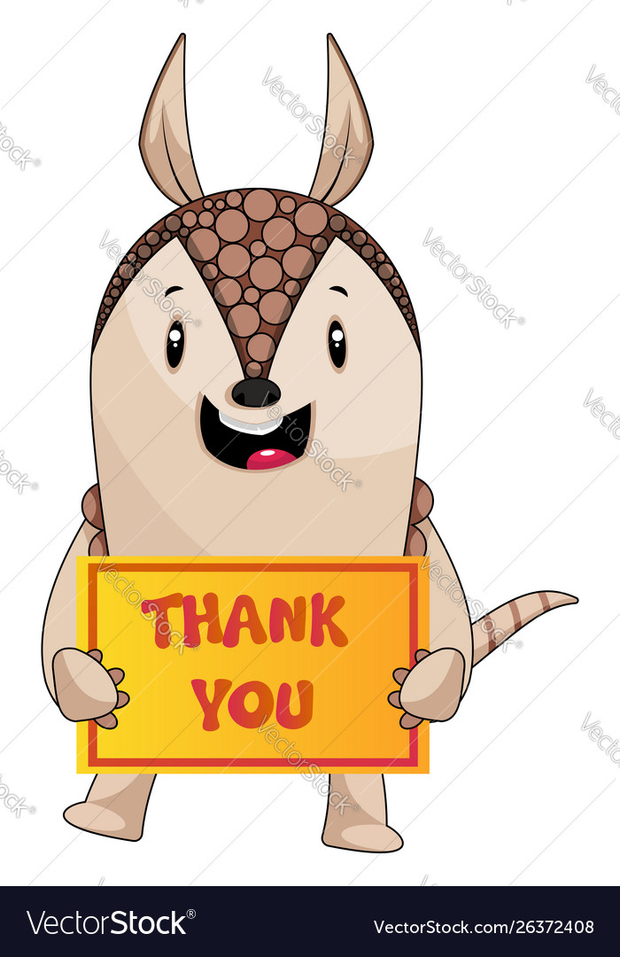 Armadillo with thank you sign on white background