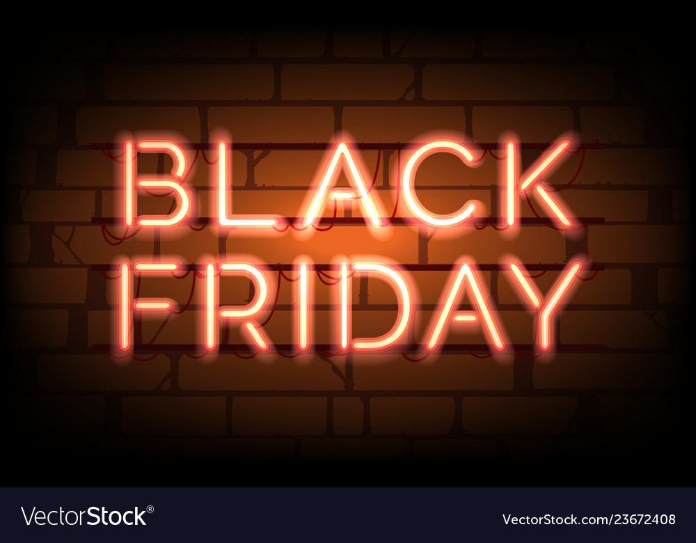 Black friday neon sale tag