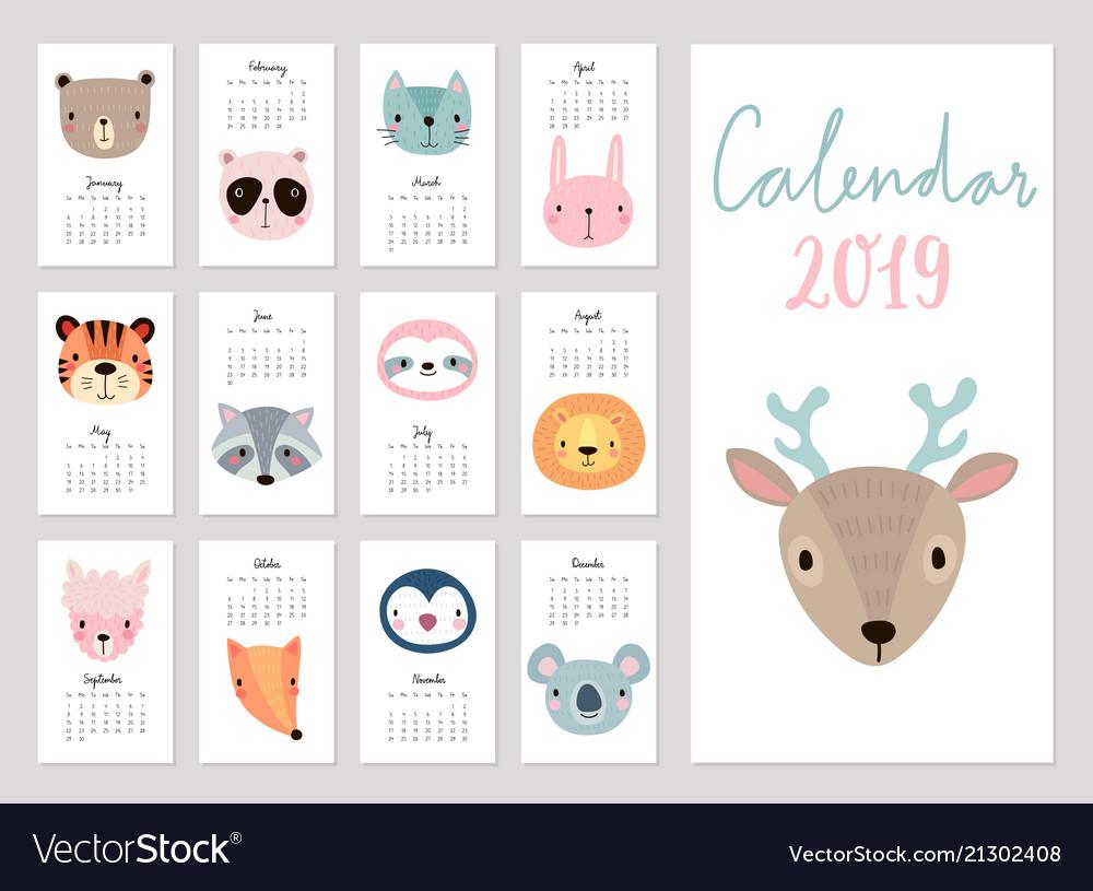 2019 Animal Calendar Calendar 2019 cute monthly calendar with animals Vector Image