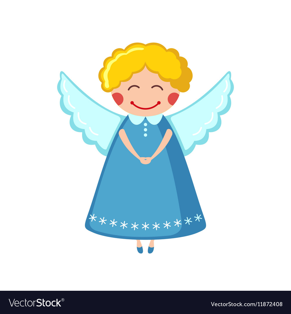 Cute angel icon in flat style