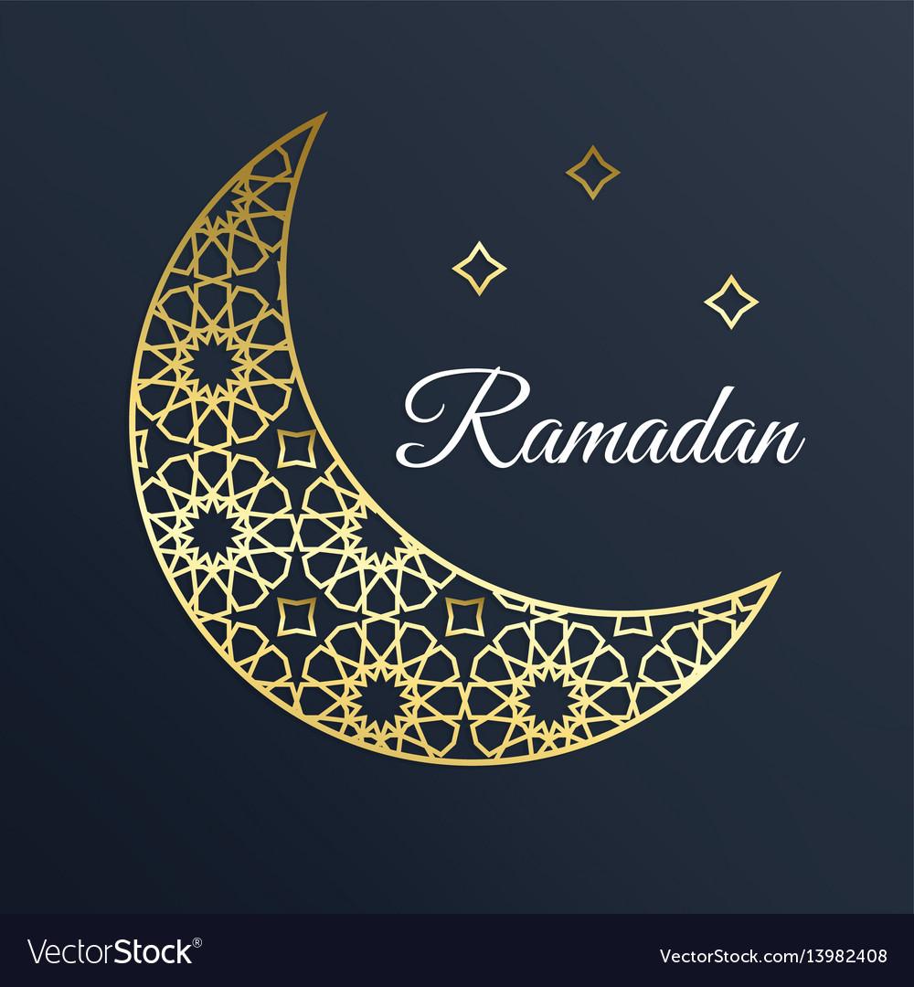 Golden arabic ornamental moon with stars ramadan