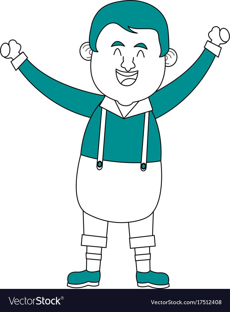 Happy man in folk german costume raising arms icon
