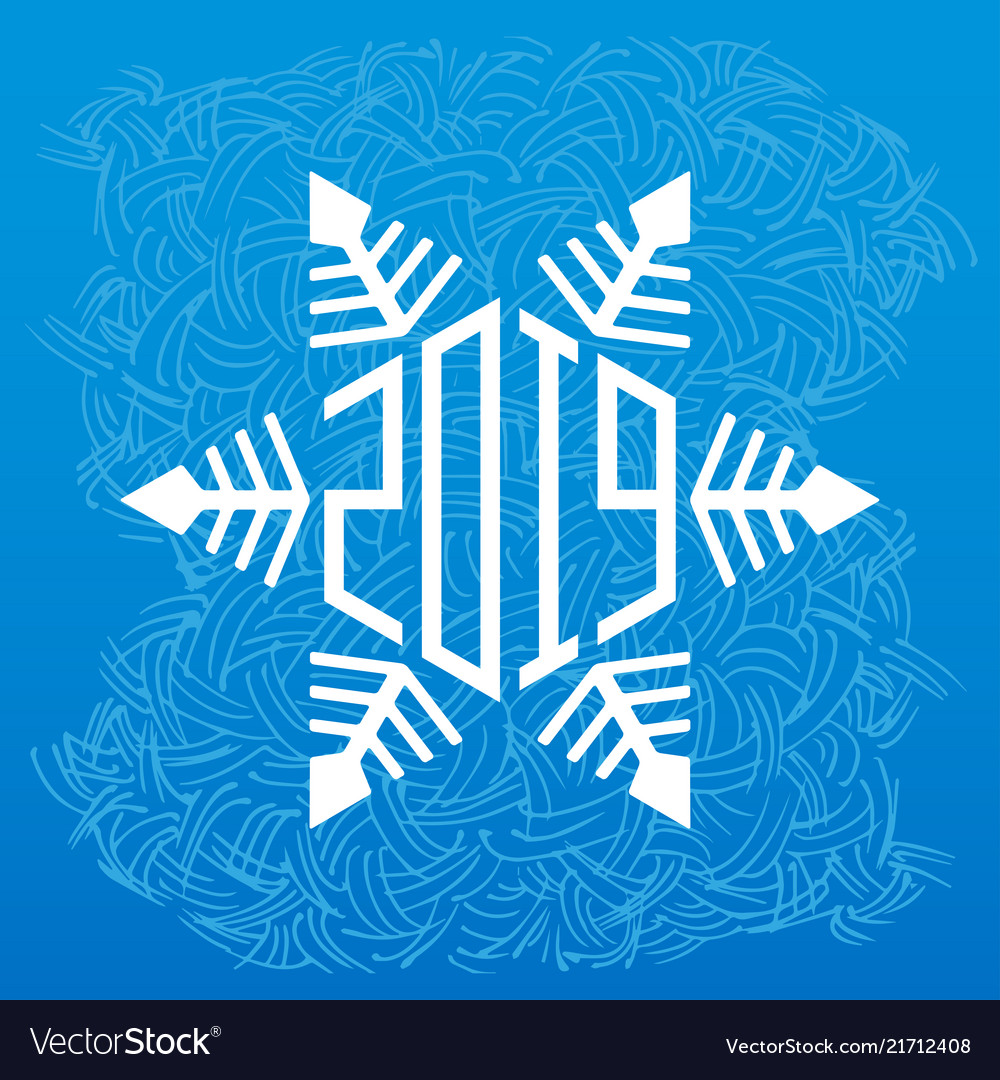 Happy new year 2019 greeting card with snowflake