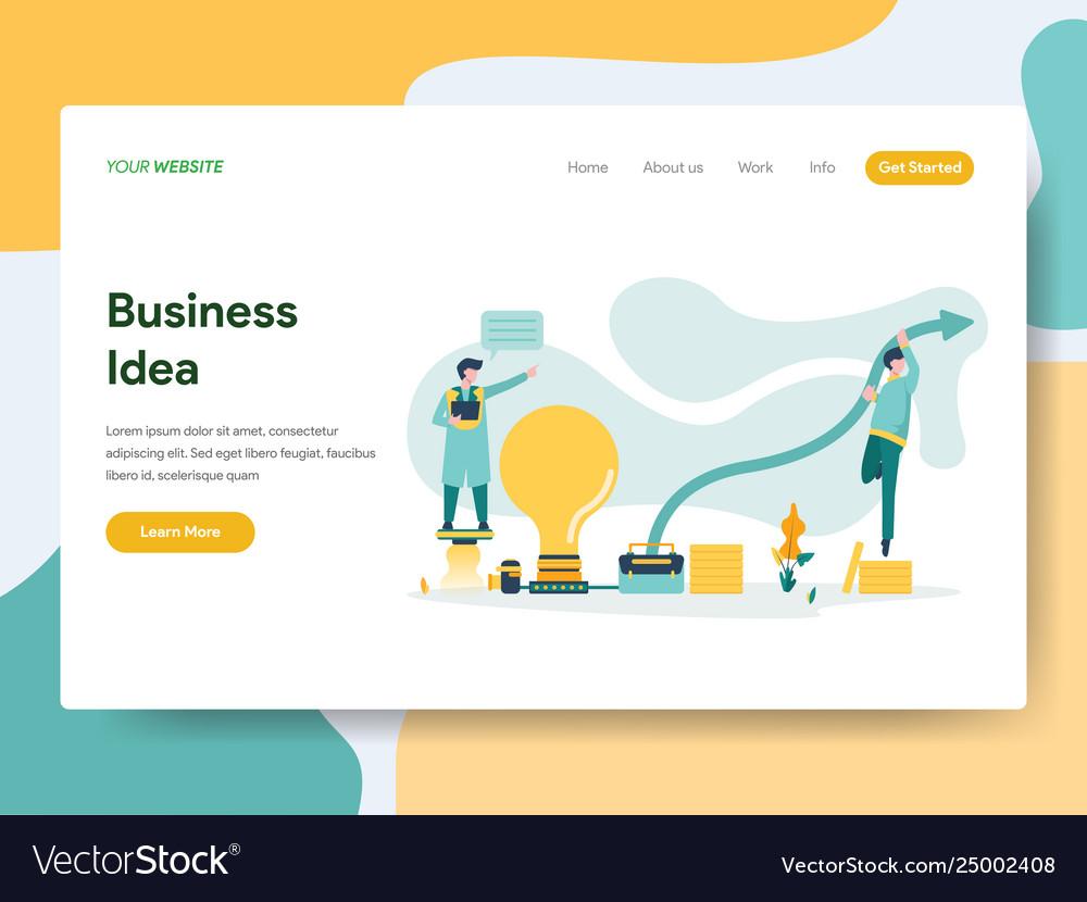 Landing page template business idea concept