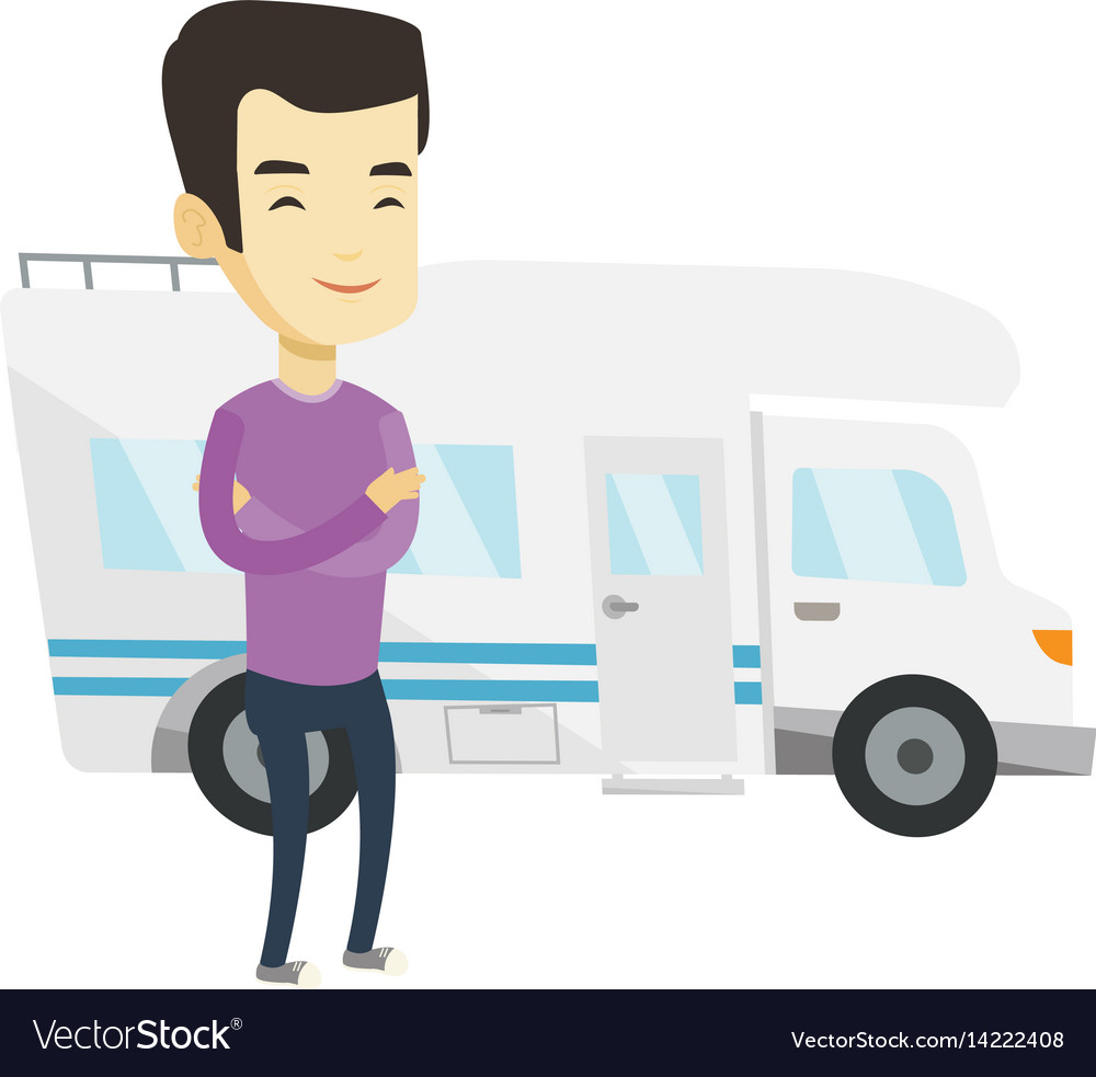 Man standing in front of motor home