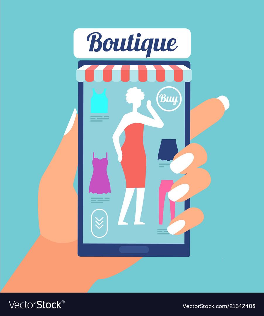 Online fashion store clothes shop app on mobile