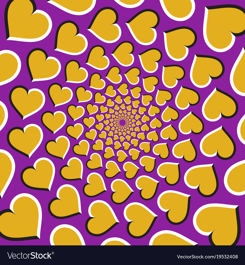 Optical background golden hearts are moving