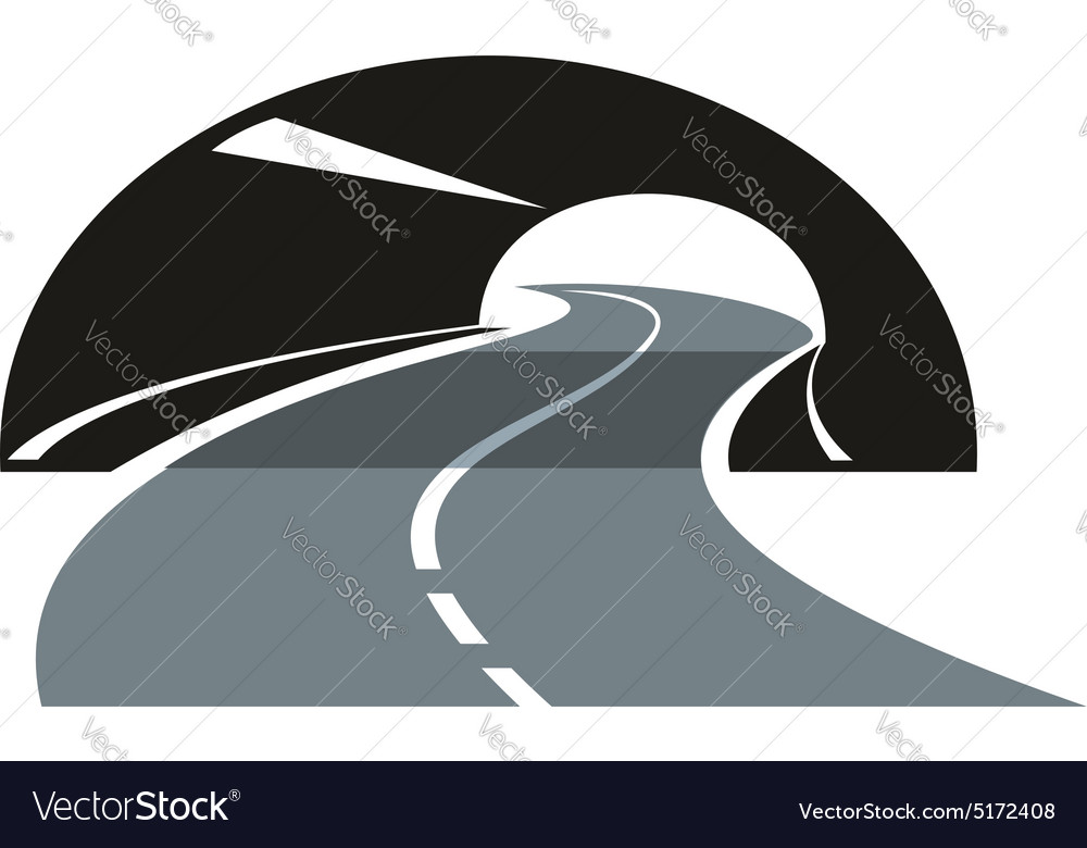 road icon winding through a tunnel royalty free vector image  vectorstock