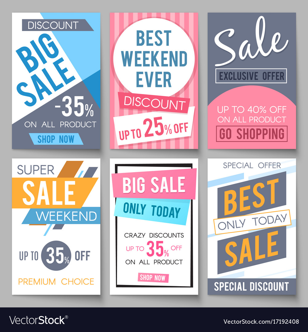 sale posters template with discount and royalty free vector