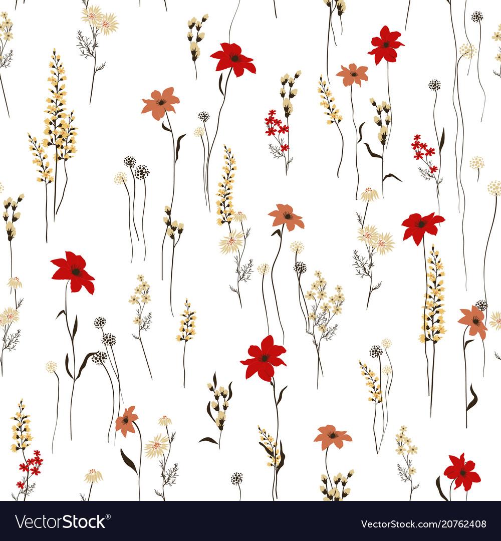 Seamless texture retro wild flower pattern