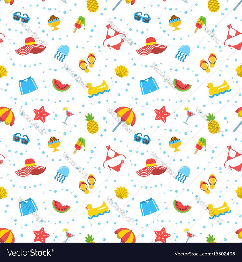 Summer beach sea vacation seamless pattern