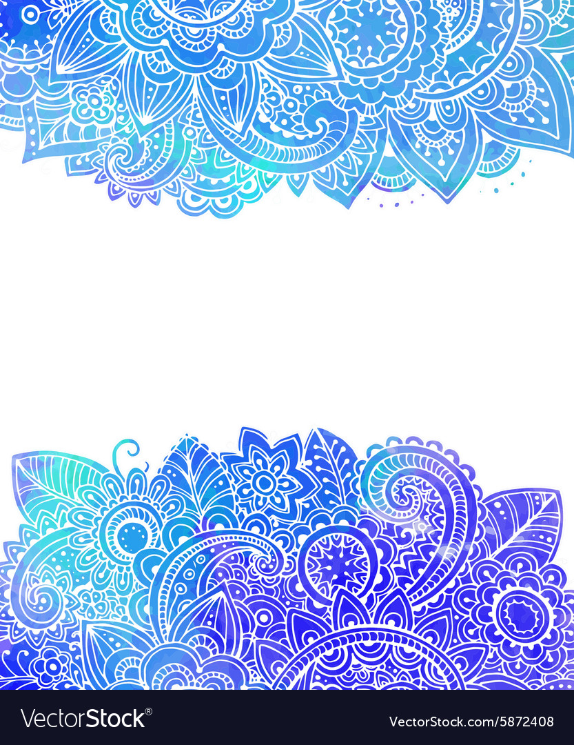 Template with doodle flowers and blue watercolor