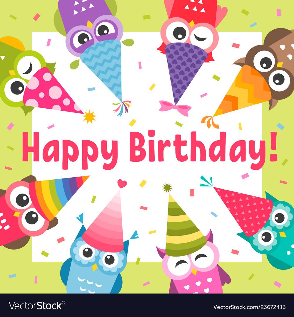 Birthday card with cute cartoon colorful owls