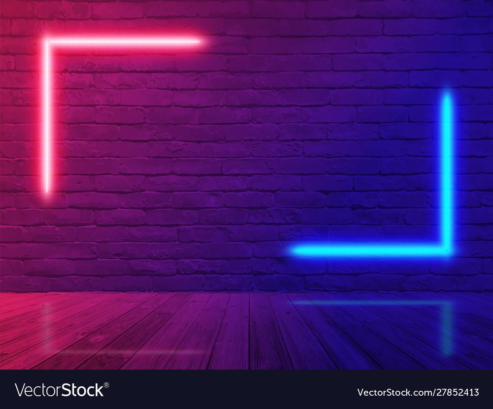 Brick Wall Room Background Neon Light