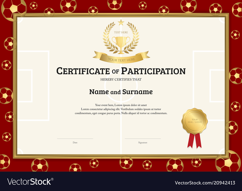 Football Certificate Template | Certificate Template In Football Sport Theme With Vector Image