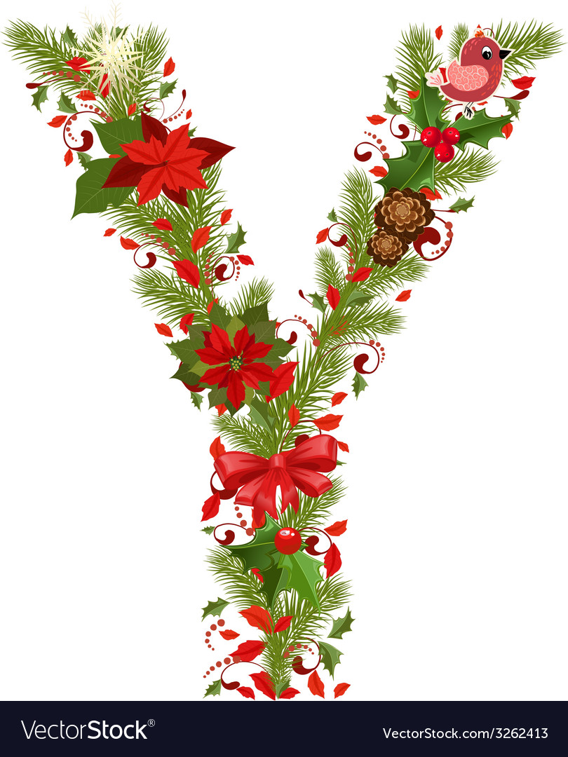 Merry Christmas Letter Y.Christmas Floral Tree Letter Y